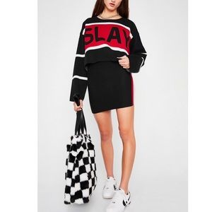 SLAY TEAM TOP AND SKIRT KNIT SWEATER MATCHING SET